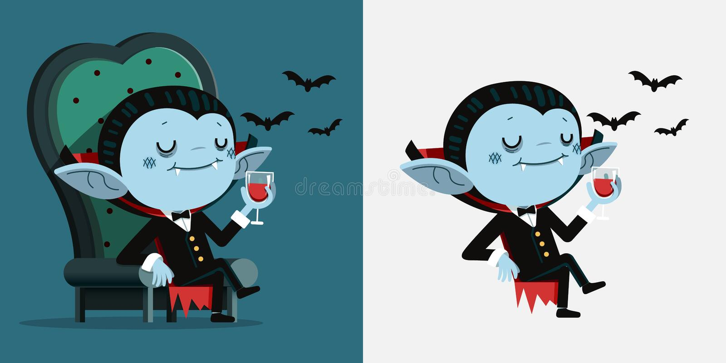 Милый шарж крошечное Дракула сидит в стуле и выпивает кровь иллюстрация штока