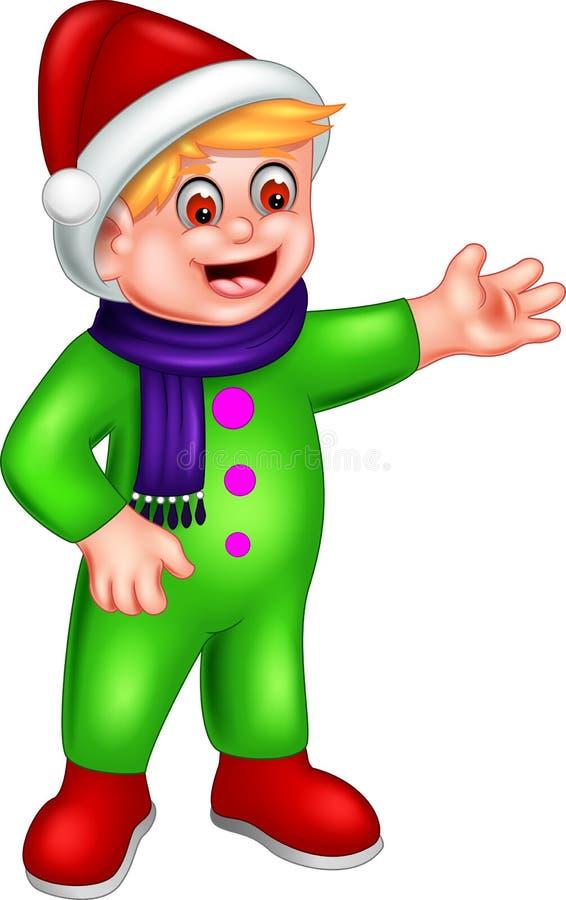 Милый шарж мальчика стоя с улыбкой и развевать бесплатная иллюстрация