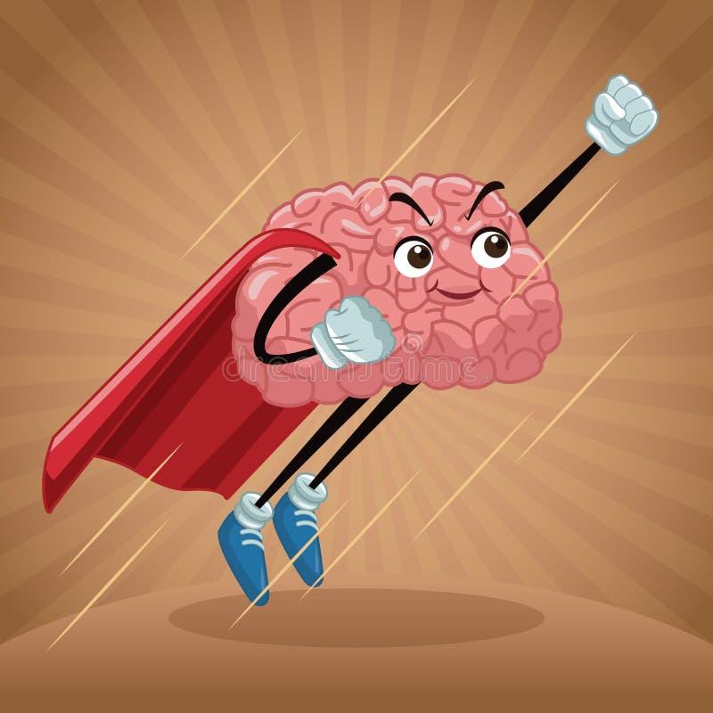 Милый шарж мозга иллюстрация вектора