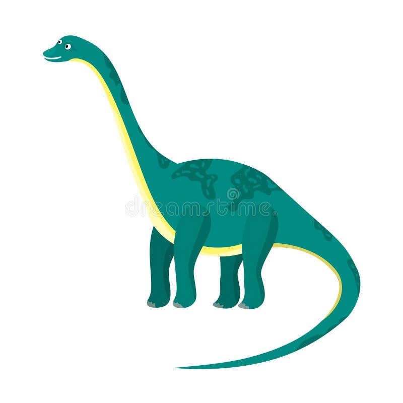 Милый шарж плоско голубой или зеленый высокий динозавр диплодока иллюстрация штока