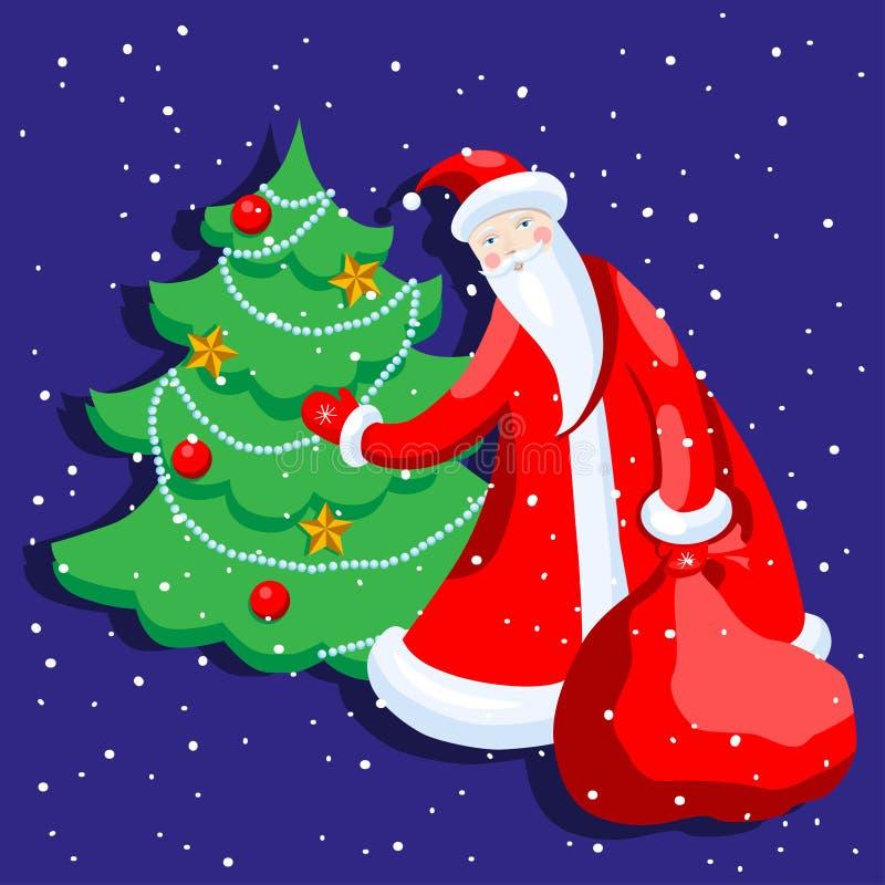 Милый шарж Санта Клаус украшая иллюстрацию вектора рождественской елки с Рождеством Христовым иллюстрация штока