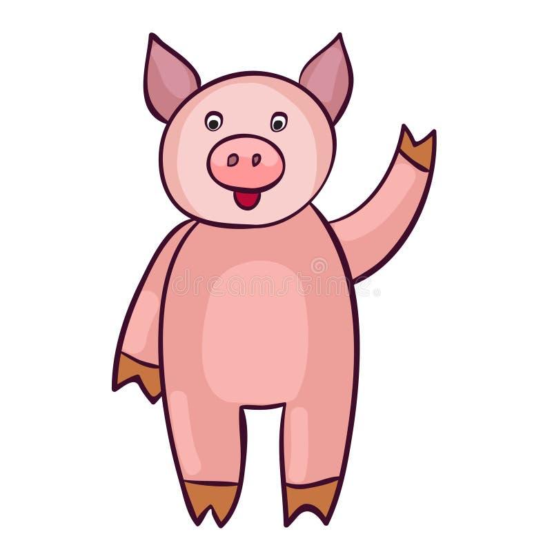Милый шарж свиньи бесплатная иллюстрация
