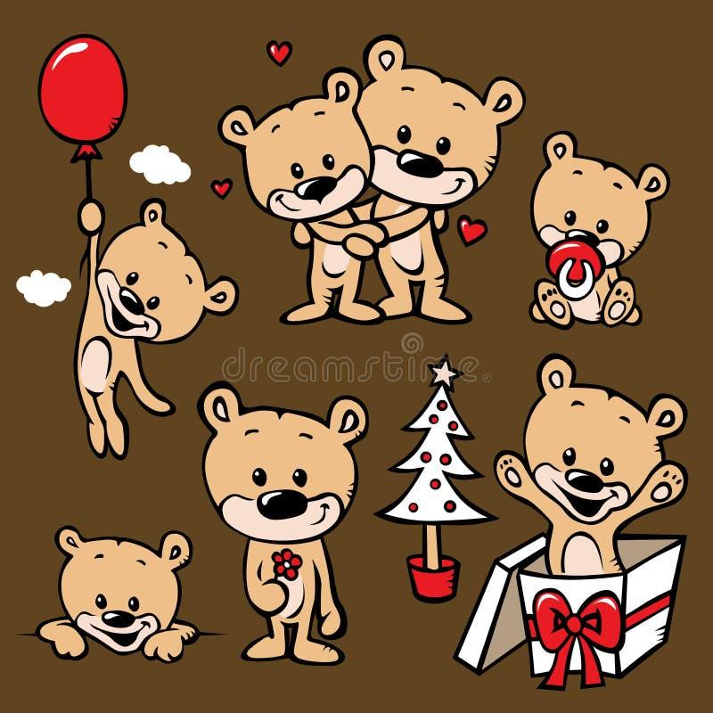 Милый шарж семьи медведя иллюстрация вектора