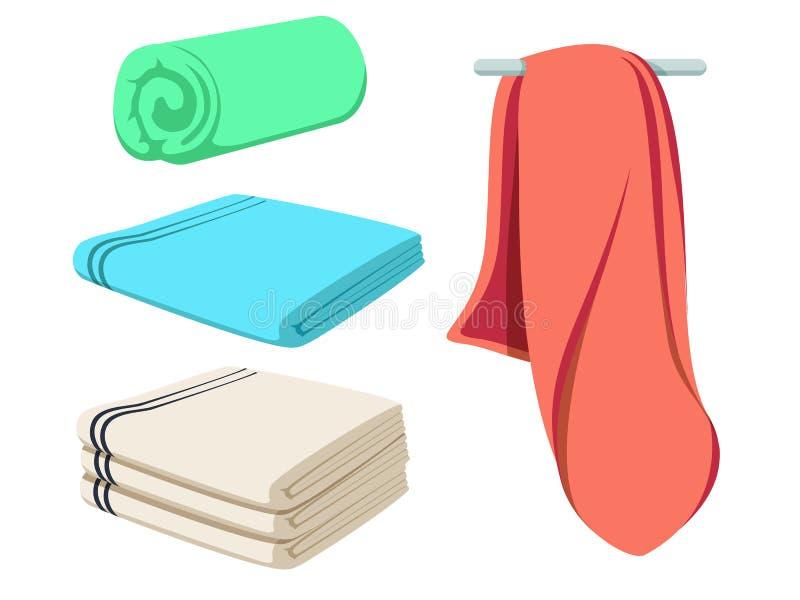 Милый шарж сложил установленные полотенца вектора Покрашенный мягкий модель-макет пляжного полотенца Ясный счищатель иллюстрация штока