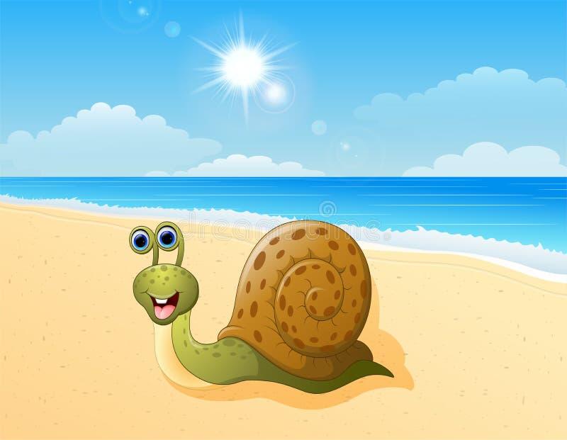 Милый шарж улитки на пляже иллюстрация вектора