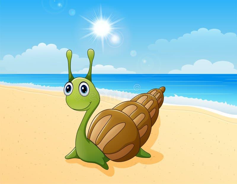 Милый шарж улитки на пляже бесплатная иллюстрация
