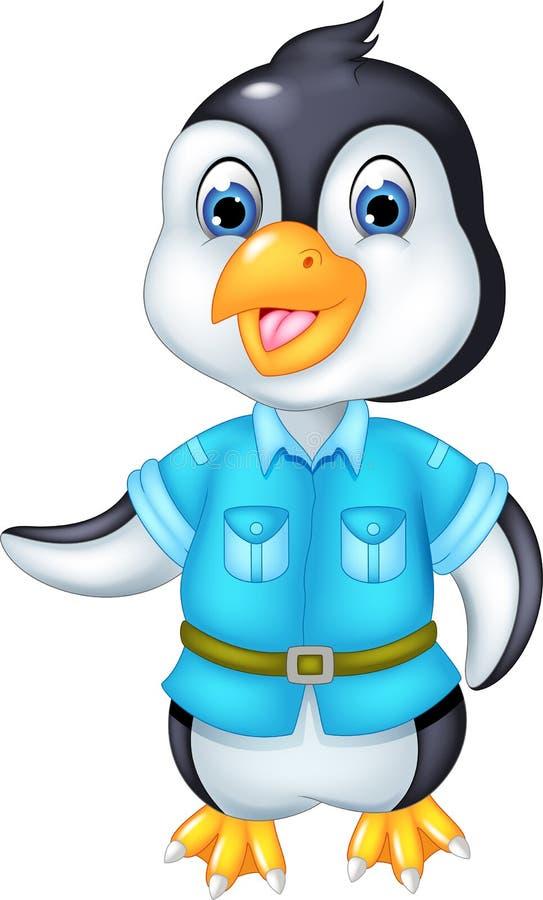 Милый шарж pinguin стоя с улыбкой и развевать иллюстрация вектора