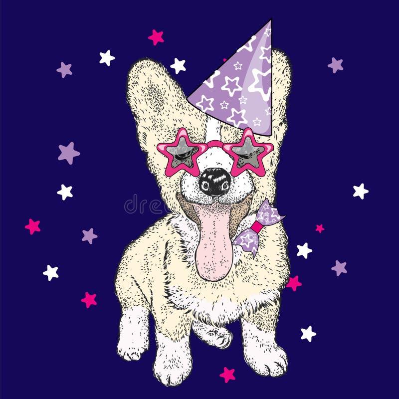 Милый щенок в праздничной крышке и смешных стеклах также вектор иллюстрации притяжки corel Открытка или плакат, печать на одеждах иллюстрация штока