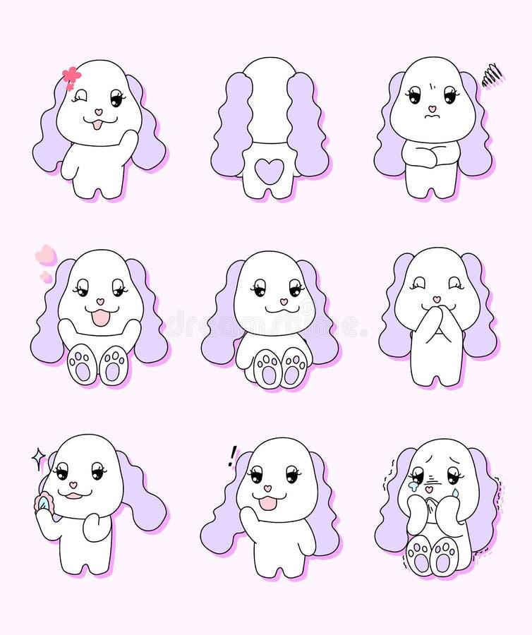 Милый щенок с 9 различными жестами бесплатная иллюстрация