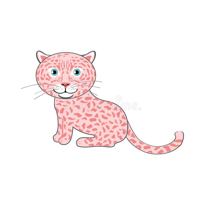 Милый ягуар мультфильма, иллюстрация вектора ребенк животная, киска, дикий кот изолированный на предпосылке, декоративное смешное иллюстрация вектора
