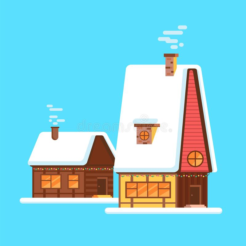 Милый яркий дом шаржа на зиме Хаты деревни зимы вектора бесплатная иллюстрация
