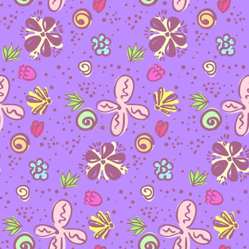 Милый яркий фиолетовый цветочный узор doodle иллюстрация штока