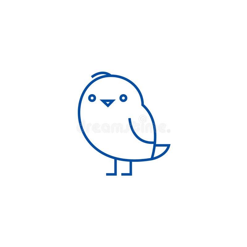 Милый chiken линия концепция значка Милый chiken плоско символ вектора, знак, иллюстрация плана иллюстрация вектора