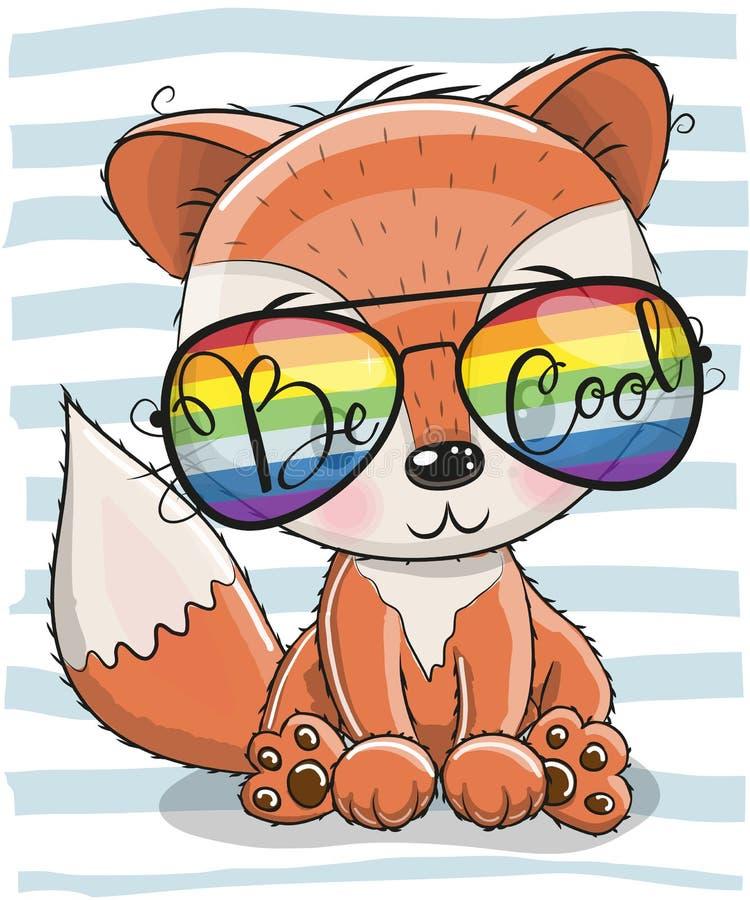 Милый Fox с стеклами солнца иллюстрация вектора