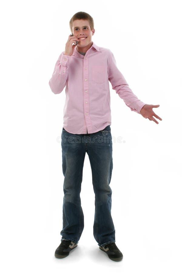 милый freckled мыжской телефон предназначенный для подростков стоковое фото rf