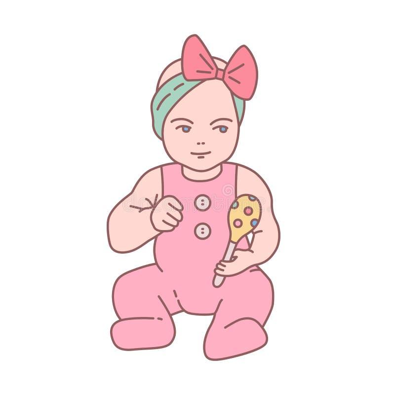 Милый newborn ребенок одетый в костюме romper сидя и держа трещотка Прекрасные маленький ребенок или младенец с игрушкой иллюстрация вектора