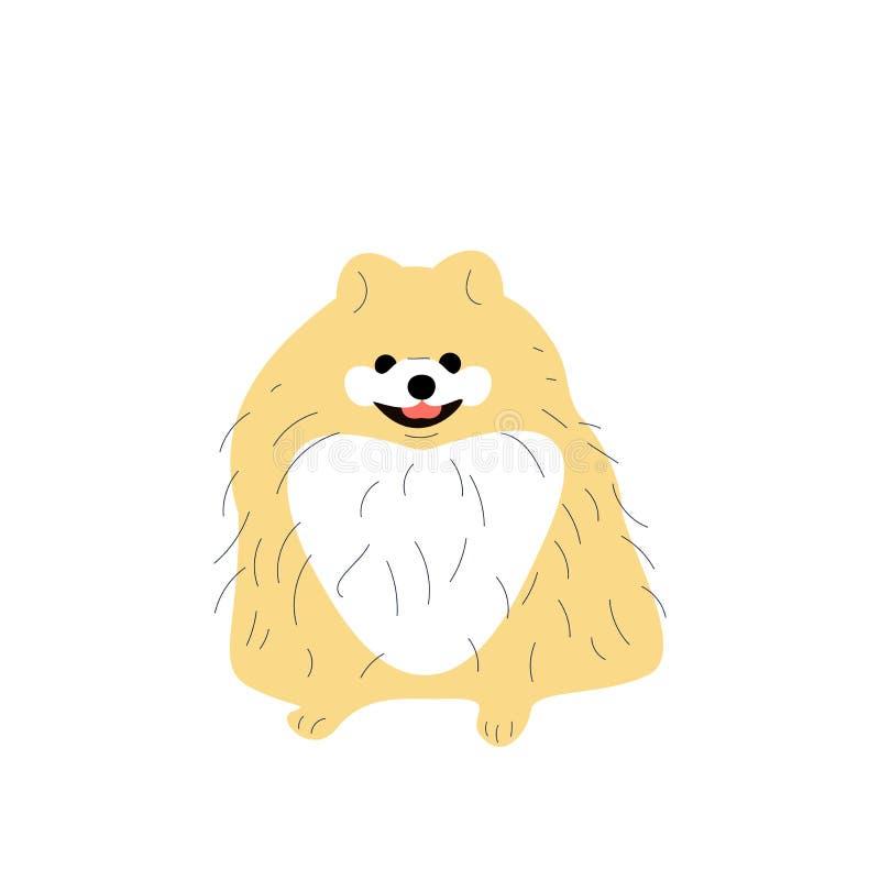 Милый pomeranian щенок, собака шпица маленькая иллюстрация штока