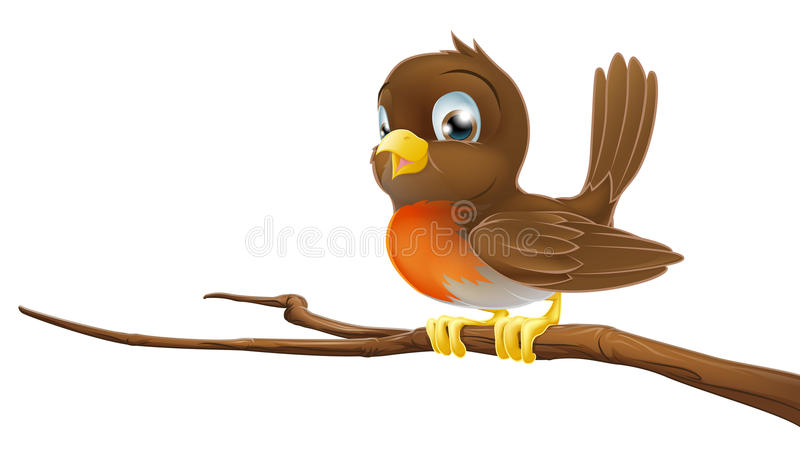 Милый Robin сидя на ветви вала иллюстрация штока