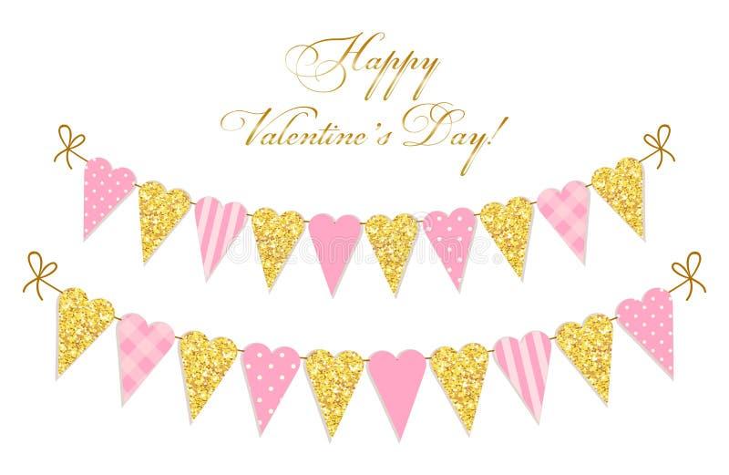 Милым винтажным яркий блеск сформированный сердцем и затрапезные шикарные флаги овсянки стиля идеальные на день валентинок etc иллюстрация штока