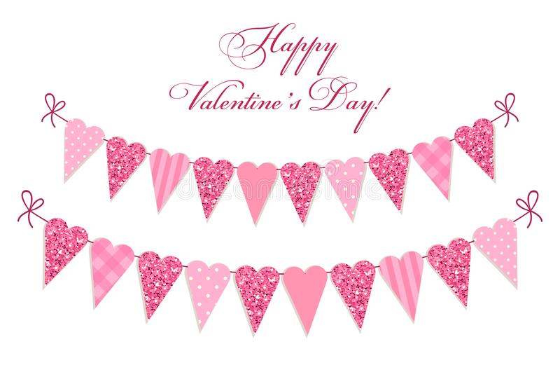 Милым винтажным яркий блеск сформированный сердцем и затрапезные шикарные флаги овсянки стиля идеальные на день валентинок etc иллюстрация вектора