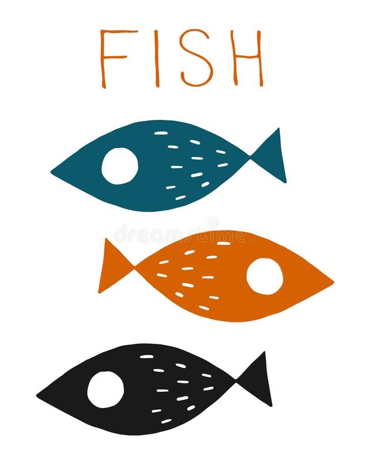Милым покрашенные мультфильмом рыбы моря r иллюстрация вектора