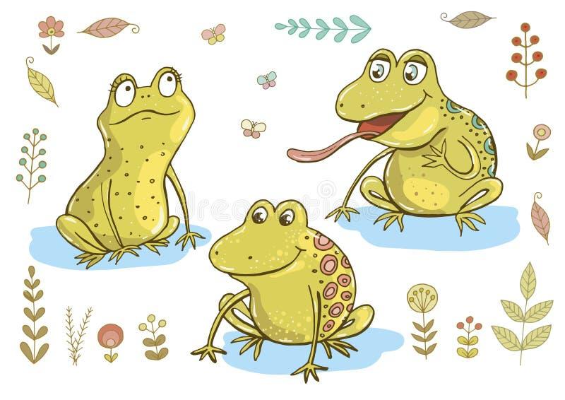 3 милых лягушки бесплатная иллюстрация