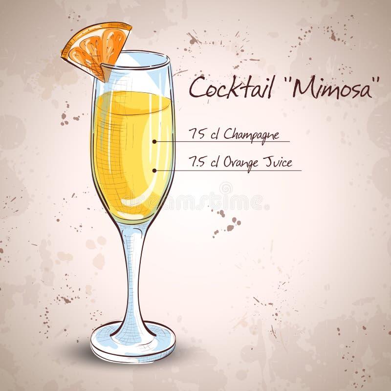 Мимоза спирта коктеиля иллюстрация штока