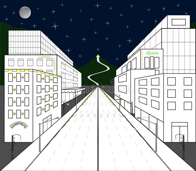 Мимолётный взгляд домов и магазинов построенных в центральной перспективе стоковая фотография rf