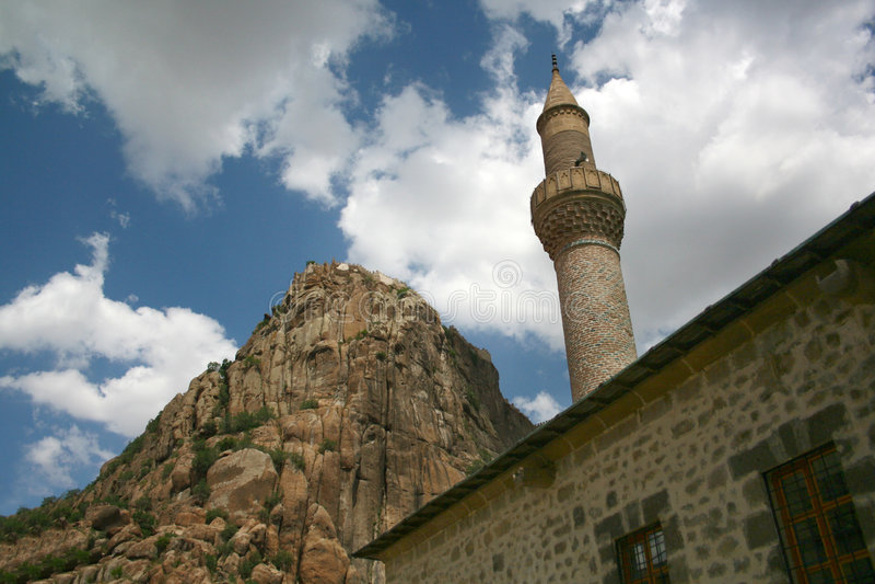 минарет замока karahisar стоковое фото