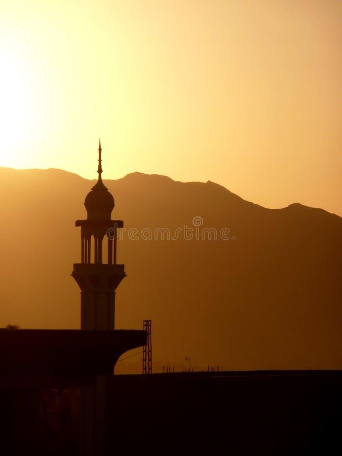 Минарет захода солнца Пакистана стоковые фотографии rf
