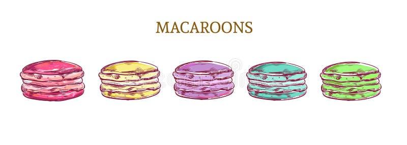 Миндалина macaroon эскиза вектора красочная испечет иллюстрацию бесплатная иллюстрация