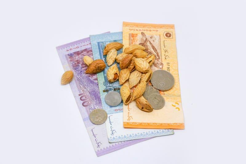 Миндалины с деньгами и белой предпосылкой стоковые изображения
