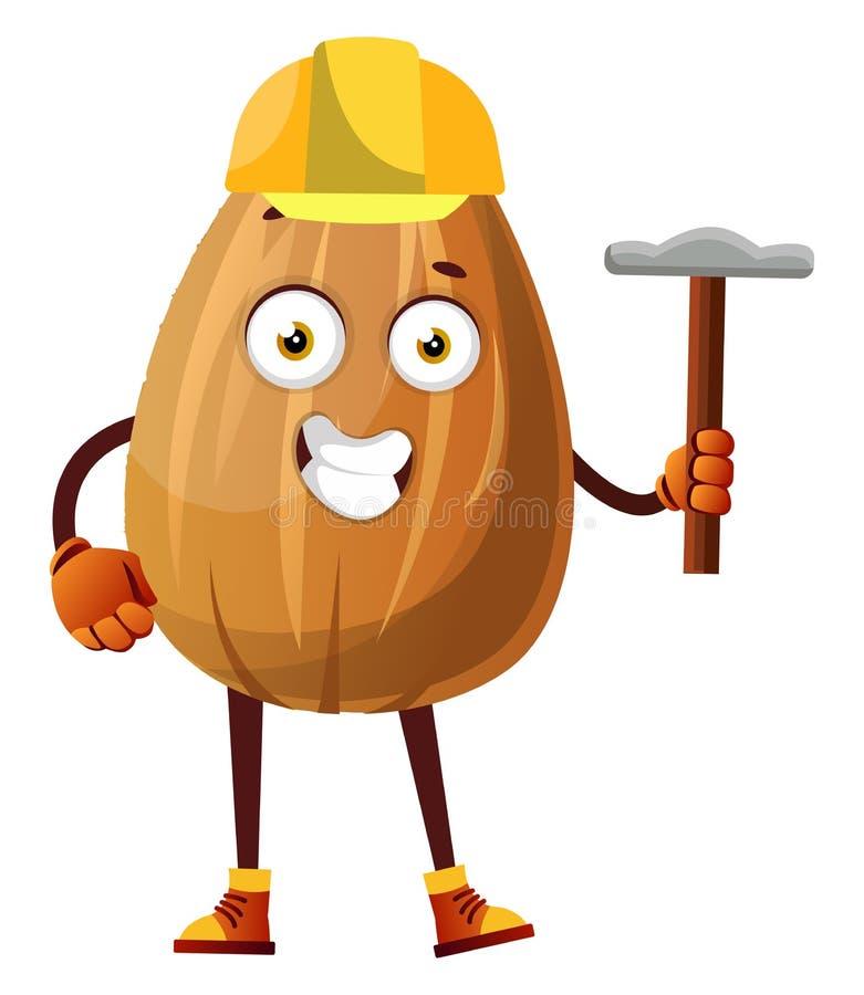 миндаль с желтым шлемом на голове и инструментом в руке, иллюстрация, вектор бесплатная иллюстрация