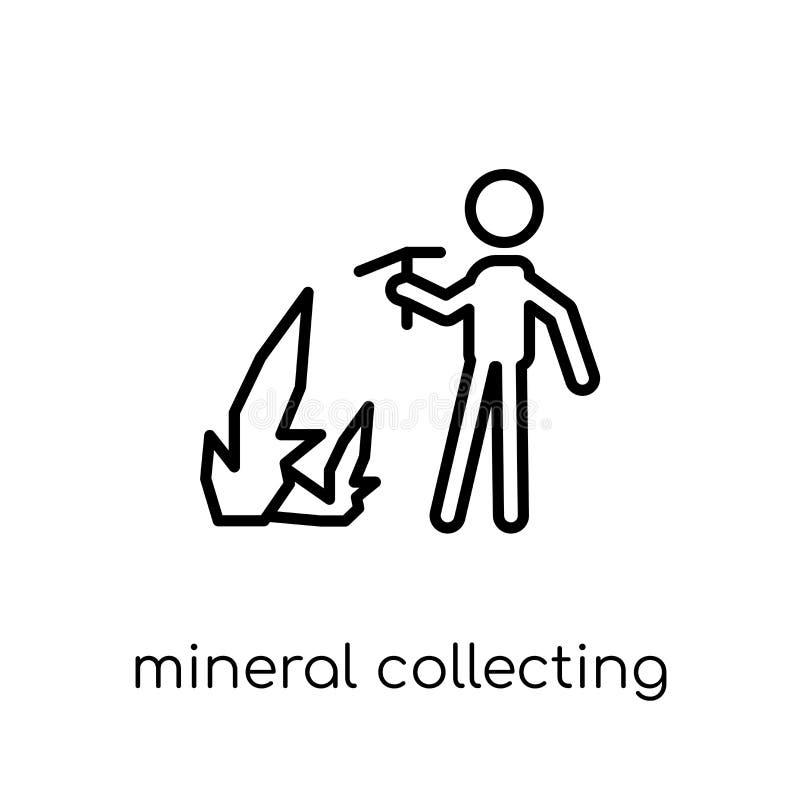 Минеральный собирая значок Ультрамодный современный плоский линейный вектор Minera иллюстрация штока