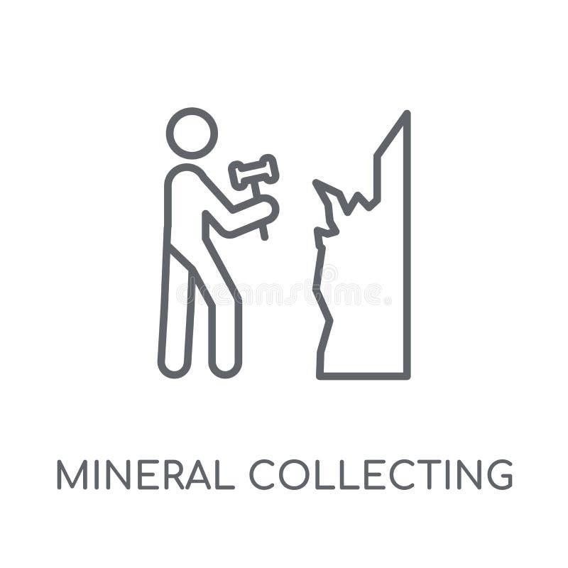 Минеральный собирая линейный значок Collectin современного плана минеральное иллюстрация вектора