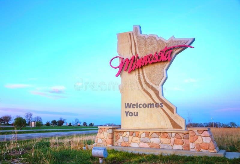 Минесота приветствует вас знак стоковые фотографии rf
