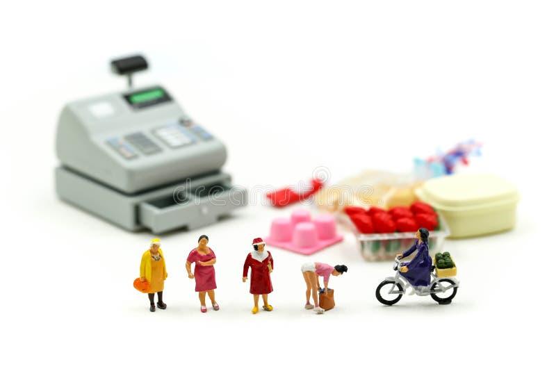 Миниатюрные люди: домохозяйка наслаждаясь в покупках на рынке Образ жизни, защита интересов потребителя, покупки стоковые изображения rf