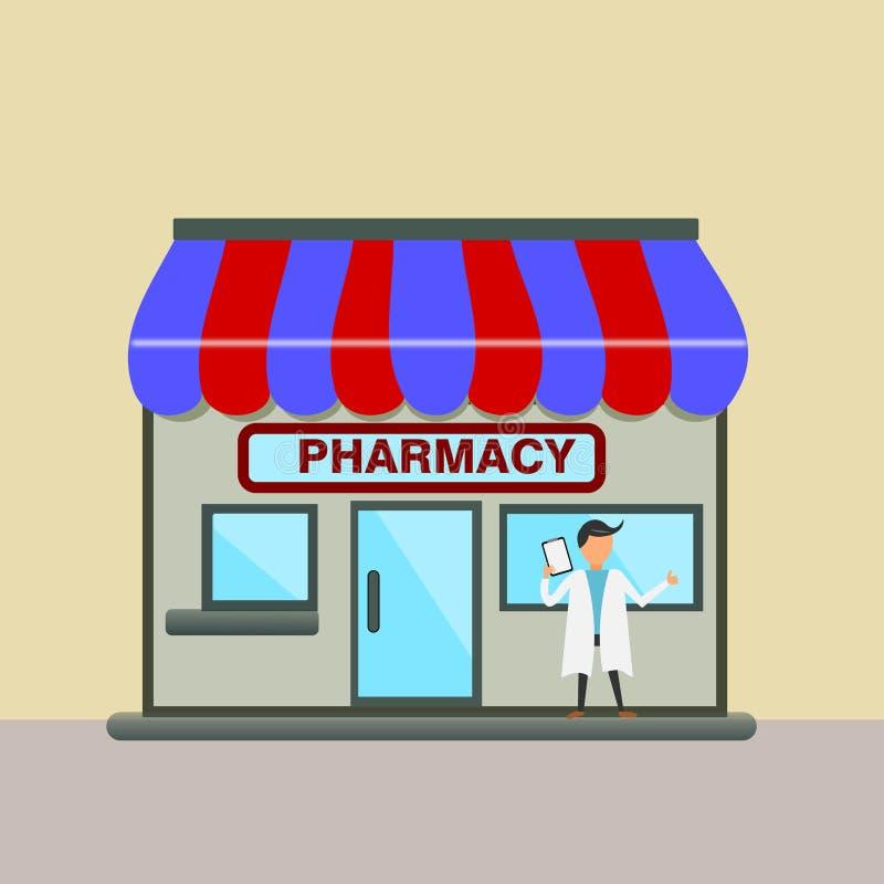 Миниатюрные магазин или аптека фармации вектор иллюстрация вектора