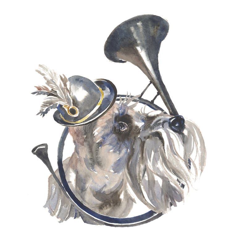 Миниатюрный шнауцер - покрашенная вручную собака watercoloc открытка иллюстрация вектора