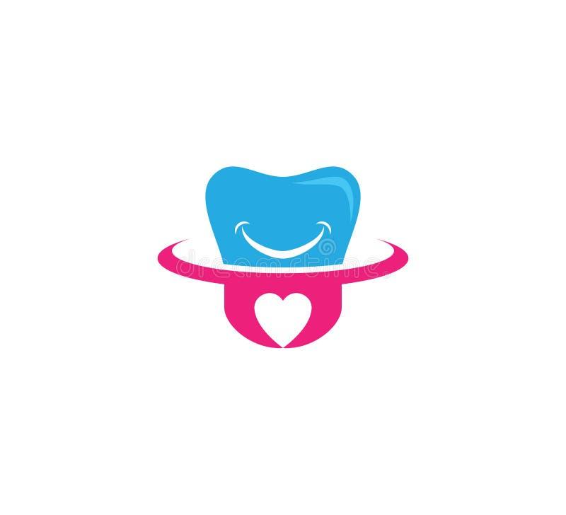 минималистичный стиль здравоохранения зуба улыбки зубоврачебный с дизайном логотипа значка вектора корня формы сердца бесплатная иллюстрация