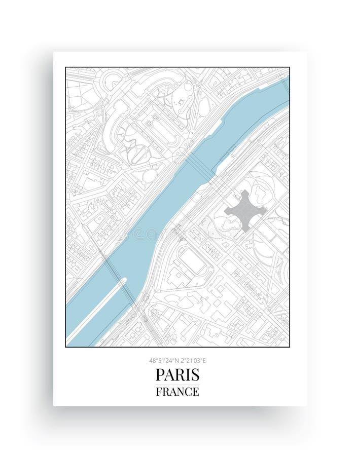 Минималистская карта Парижа, дизайн карты Парижа, дизайн искусства иллюстрация штока