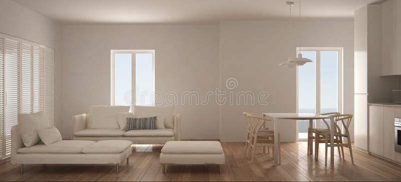 Минималистская скандинавская живущая комната с кухней и обеденным столом, софой, pouf и шезлонгом, панорамным окном, современным  бесплатная иллюстрация