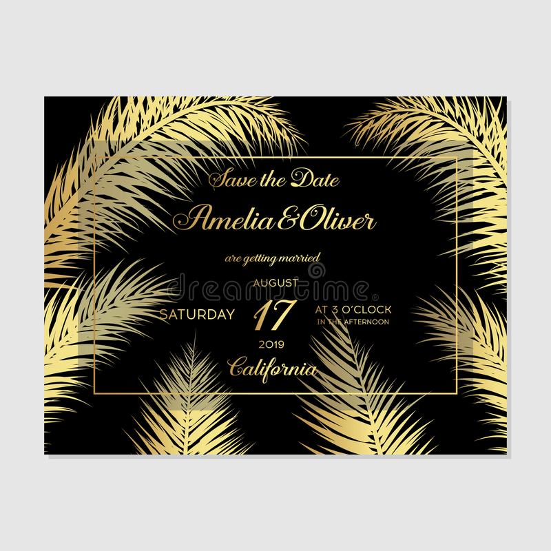 Минималистский ботанический дизайн шаблона карты приглашения свадьбы Поздравительная открытка вектора декоративные или предпосылк иллюстрация вектора