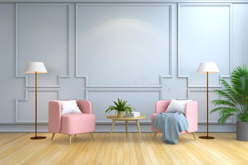 Минималистский дизайн интерьера комнаты, современная мебель, розовое кресло и белая лампа на деревянном настиле и белой стене /3d иллюстрация вектора