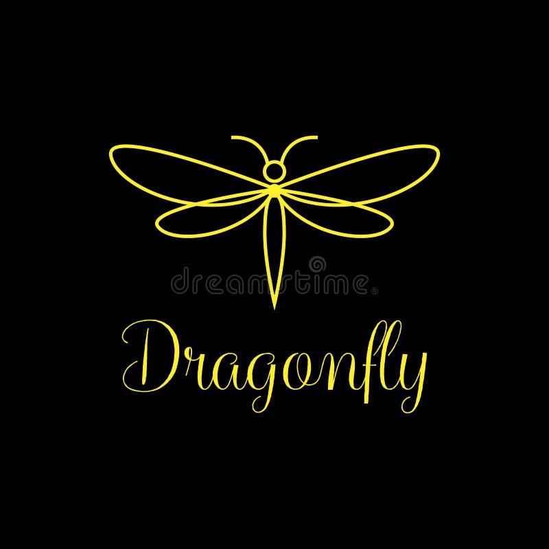 Минималистский и роскошный дизайн логотипа Dragonfly, линия стиль искусства иллюстрация вектора