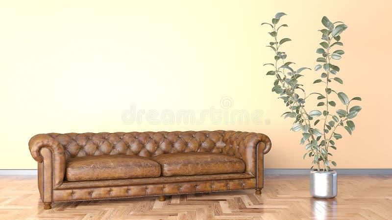 Минимальная живущая комната с коричневым кожаным диваном и оранжевой иллюстрацией стены 3D иллюстрация штока