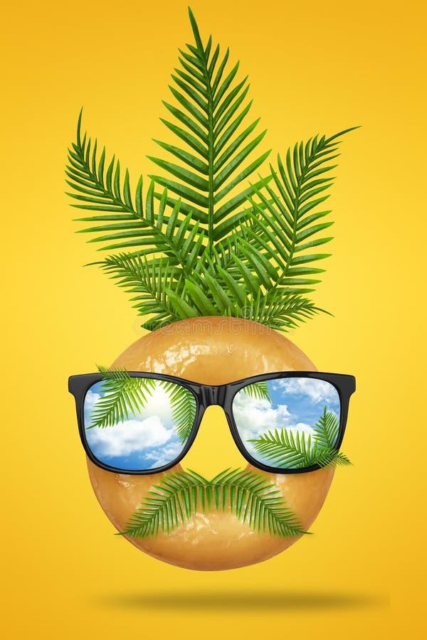 Минимальная концепция лета стороны человека хипстера сделанной из вкусного донута с солнечными очками, зеленой тропической ладони иллюстрация вектора
