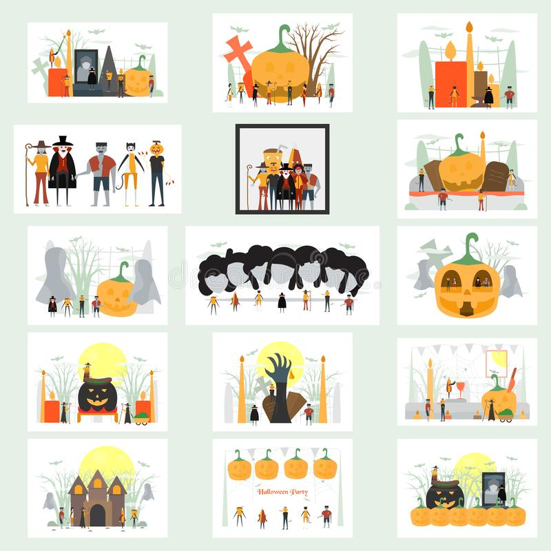 Минимальная сцена на день хеллоуина, 31-ое октября, с чудовищами которые включают Дракула, стеклянными, человеком тыквы, frankens бесплатная иллюстрация