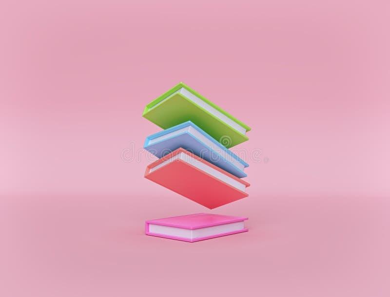 Минимальные пестротканые книги на пастельной розовой предпосылке Левитация o r иллюстрация вектора