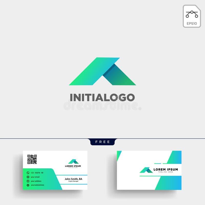 Минимальные шаблон логотипа a начальные и визитная карточка иллюстрация штока